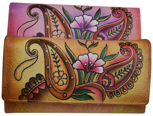 Cazoro Women's Genuine Leather Handpainted Floral Deluxe Clutch Wallet - wallets for men's at mens wallet