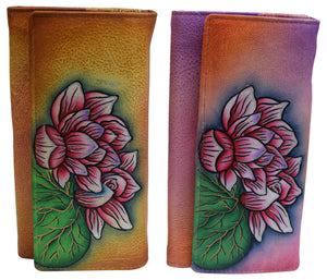 Cazoro Women's Genuine Leather Handpainted Flowers Deluxe Clutch Wallet - wallets for men's at mens wallet