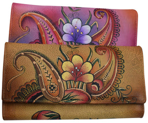 Cazoro Women's Genuine Leather Handpainted Tropical Deluxe Clutch Wallet - wallets for men's at mens wallet