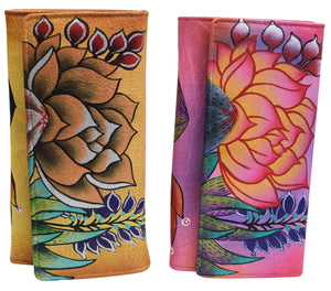 Cazoro Women's Genuine Leather Handpainted Wild Flowers Deluxe Clutch Wallet - wallets for men's at mens wallet