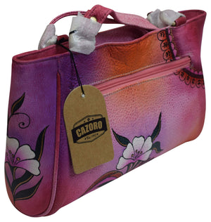 Cazoro Clothing, Shoes & Accessories Pink Cazoro Womens Genuine Leather Handpainted Floral Shoulder Bag Purse