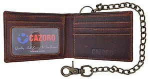 Cazoro Leather Slim Bifold Wallet with Gunmetal Metal Chain