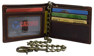 Mens Real Grained Leather Vintage Chained Wallet RFID Purse Credit Card Holder