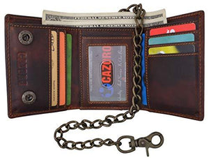 RFID Safe Vintage Brown Leather Biker Trifold Chain Wallet with Chain Trucker