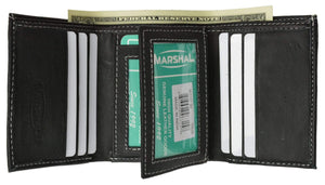 100% Leather Tri-fold ID Card Holder Mens Wallet Black 961107 - wallets for men's at mens wallet