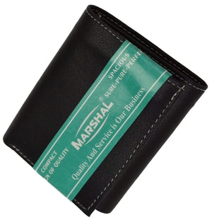 Marshal Clothing, Shoes & Accessories 100% Leather Tri-fold ID Card Holder Mens Wallet Black 961107