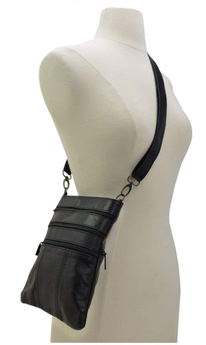 Marshal Clothing, Shoes & Accessories 128-030 Leather Cross Body Shoulder Messenger Purse Bag Multiple Pockets Black