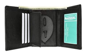 marshal Clothing, Shoes & Accessories 2519TABK Genuine Leather Trifold Badge Holder Wallet Black Police Badge Holder