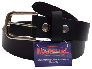 "New Marshal Casual Belt 1.5"" Wide Top Grain Genuine Leather Silver Buckle - menswallet"