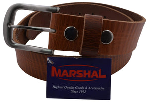 "Marshal Clothing, Shoes & Accessories 32"" Durable Men's Casual Genuine Top Grain Leather Tan Belt with Silver Buckle"