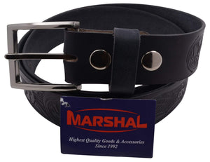Marshal Men's Black Durable Leather Belt W/Silver Buckle - menswallet