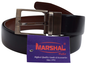 Marshal Men's Genuine Leather Reversible Belt with Rotated Buckle Black & Brown New - menswallet