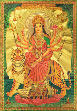 "Marshal Clothing, Shoes & Accessories Ambaji / Goddess Amba / Ambe Mataji / Maa Sheravali / Devi Durga with Tiger Poster Size 8.5"" X 12"" Approx."