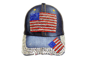 Marshal Clothing, Shoes & Accessories American Flag Rhinestone Jeans Denim Baseball Adjustable Bling Hat Cap