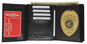 Badge Holder Wallet Genuine Leather Black ID Shield 2518 TA (C) - wallets for men's at mens wallet
