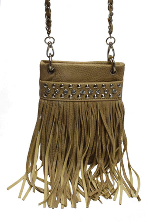 Marshal Clothing, Shoes & Accessories Beige Beautiful Rhinestone With Fringe Women Mini Cross body Bag
