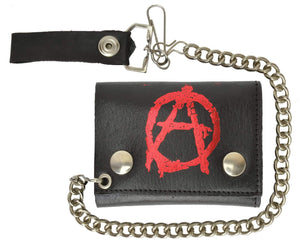 Biker Chain Genuine Leather Trifold Wallet Anarchism Symbol Imprint 946-48 (C) - wallets for men's at mens wallet