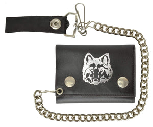 Marshal Clothing, Shoes & Accessories Biker Chain Trifold Genuine Leather Wallet Wolf Imprint 946-23 (C)