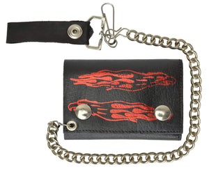 Biker Chain Trifold Wallet Long Flames Genuine Leather 946-47 (C) - wallets for men's at mens wallet