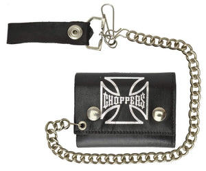 Marshal Clothing, Shoes & Accessories Biker Genuine Leather chain Trifold Wallet Chopper Cross 946-42 (C)