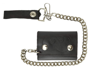 Marshal Clothing, Shoes & Accessories Biker Trifold Chain Genuine Leather Wallet Double 8 Balls Imprint 946-14 (C)