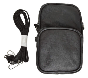 Marshal Clothing, Shoes & Accessories Black 100% Leather Camera Pouch with Strap with Extra Zipper Compartment