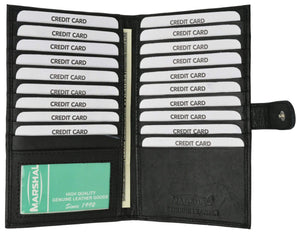 Marshal Clothing, Shoes & Accessories Black 100% Soft Premium Genuine Leather Bi fold Card Holder P 1629
