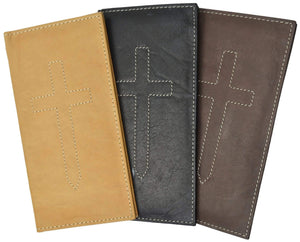 156CF_JE Cross Sign Basic Leather Checkbook Cover - wallets for men's at mens wallet