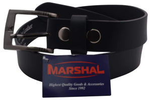 "Marshal Clothing, Shoes & Accessories Black / 32"" Casual Belt Men's 1.5"" Wide Top Grain Genuine Leather Square Silver Buckle by Marshal"