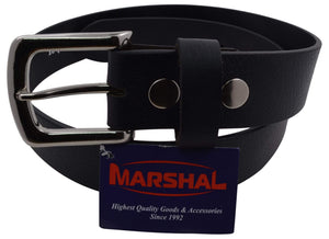 Durable Genuine Leather Mens Belt with Silver Buckle Black Brown by Marshal - menswallet