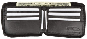Marshal Clothing, Shoes & Accessories Black All Rounder Zipper Mens Leather Bifold Wallet 574