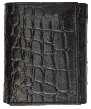 Marshal Clothing, Shoes & Accessories Black Alligator Print Cowhide Leather Trifold Wallet with ID Window & Credit Card Slots 71107 CR (C)
