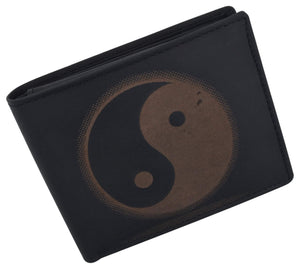 Marshal Clothing, Shoes & Accessories Black Bifold Genuine Leather Mens RFID Credit Card ID Wallet W/ Ying Yang Logo