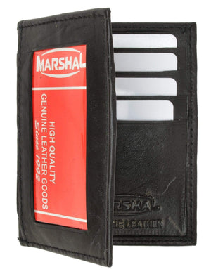 Marshal Clothing, Shoes & Accessories Black Bifold Lamb Leather Credit Card Holder Wallet with Outside ID Window & Zippered Pocket 76 (C)