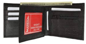 Marshal Clothing, Shoes & Accessories Black Bifold Leather Wallet W/ Middle ID Flap 3052