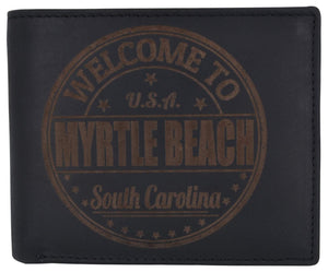 Bifold Mens RFID Cowhide Leather Myrtle Beach Flap Card/ID Wallet - wallets for men's at mens wallet