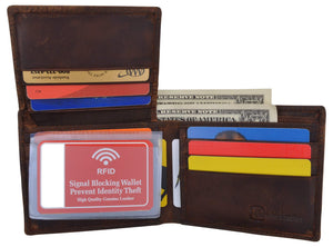 Marshal Clothing, Shoes & Accessories Black Bifold Mens RFID Cowhide Leather Myrtle Beach Flap Card/ID Wallet