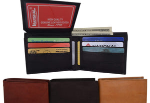 Bifold Mens Smooth Genuine Leather Flap Up ID Wallet 1153 CF - wallets for men's at mens wallet