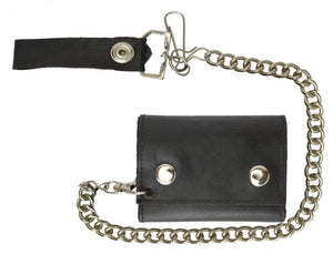 Black Genuine Leather Biker's Wallet Card Holder w/ Chain Trifold New - wallets for men's at mens wallet