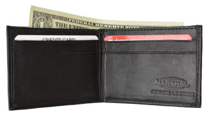 Marshal Clothing, Shoes & Accessories Black Children/Kids Slim Black Leather Lamb Mini Bifold Wallet 85 (C)