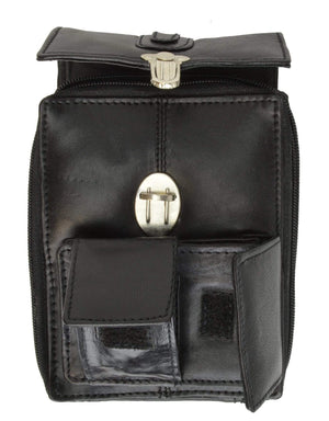 Marshal Clothing, Shoes & Accessories Black Classic Design Genuine Leather Organizer Bag with Vintage Buckle Closure 121 (C)