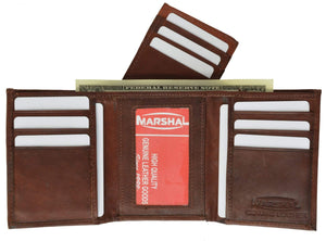 Marshal Clothing, Shoes & Accessories Black Cowhide Leather Removable Flap Card ID Holder Trifold Wallet 1955 CF