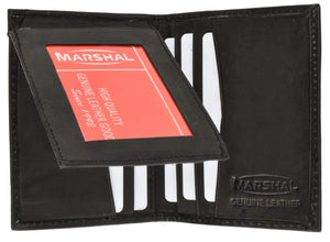 Marshal Clothing, Shoes & Accessories Black Cowhide Leather Slim L Shape ID Card Holder Bifold Wallet 1309 CF (C)
