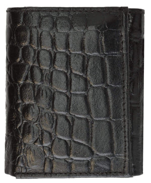 Marshal Clothing, Shoes & Accessories Black Crocodile Print Cowhide Leather Trifold Wallet with Center ID Window & Credit Card Slots 71055 CR (C)