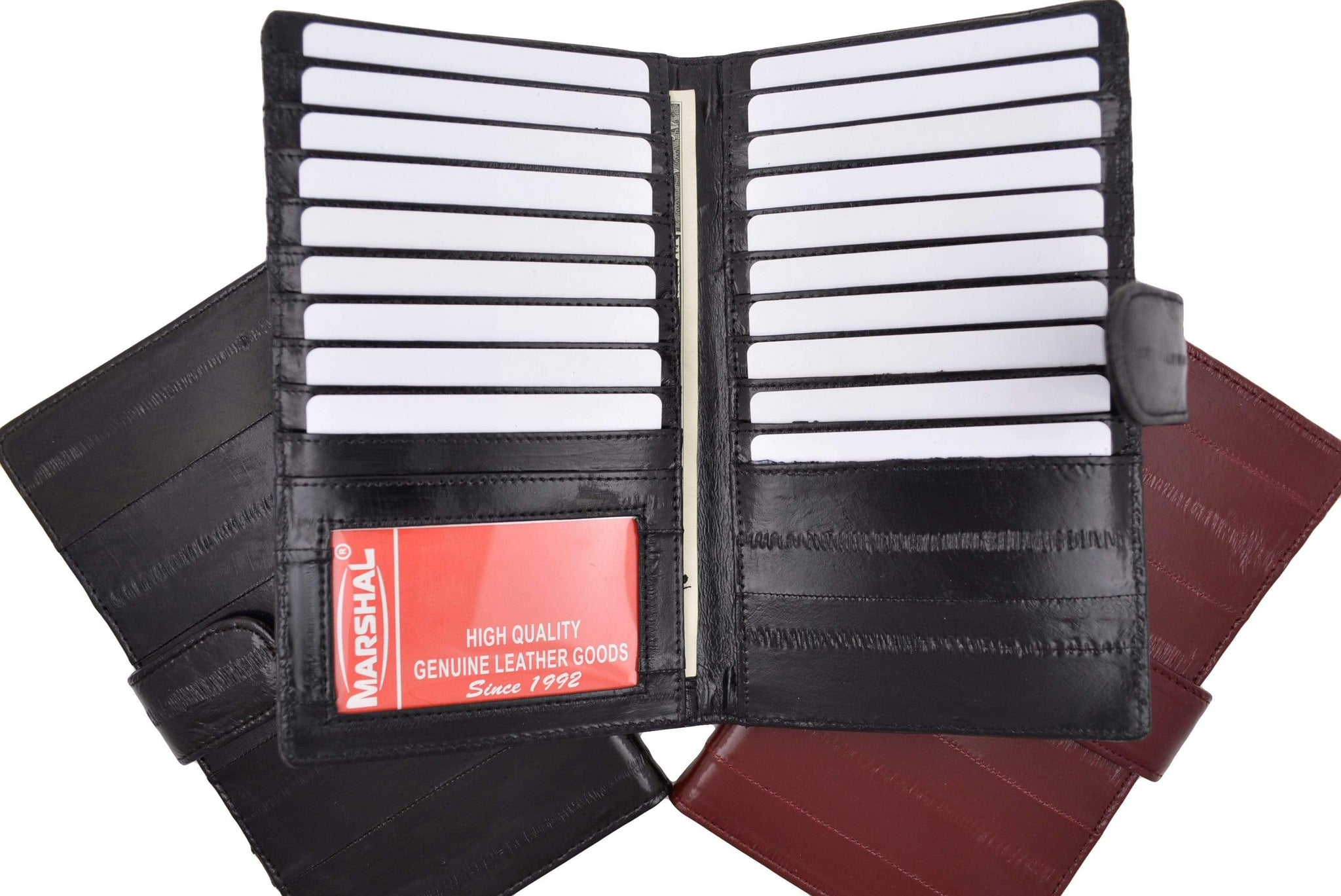1 ID Window Genuine Leather Credit Card Holder Wallet 19 Card Slots