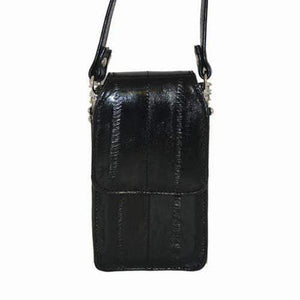 Marshal Clothing, Shoes & Accessories Black Eel Skin Leather Womens Wallet Cell Phone Case E 563