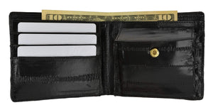 Marshal Clothing, Shoes & Accessories Black Eel Skin Soft Leather Bifold Credit Card Wallet with Coin Pouch E 59