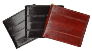 Marshal Clothing, Shoes & Accessories Black Eel Skin Soft Leather Bifold Wallet with Center Money Clip E 717