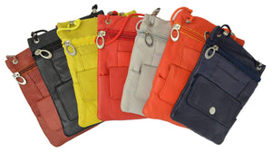 Elegance Look Leather Cross Body Bag Leather Shoulder Purse w Zipper Pocket Different Colors 1410 (C) - menswallet
