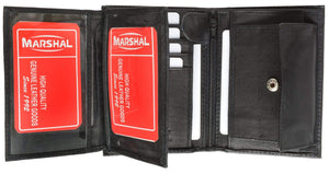 Marshal Clothing, Shoes & Accessories Black European Style Bifold Trifold Genuine Leather Wallet with ID Window 518 CF (C)